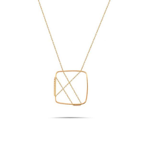 گردنبند طلا طرح مربع زنجیر