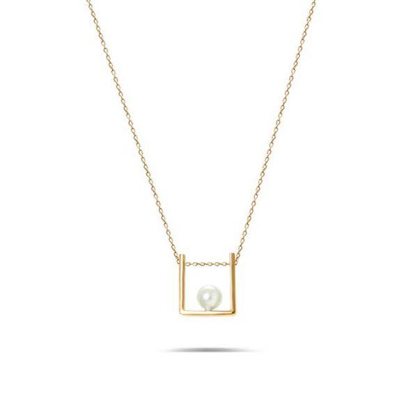 گردنبند طلا طرح مربع مروارید