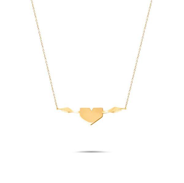 گردنبند طلا قلب بالدار