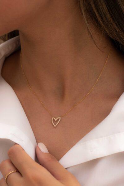 گردنبند طلا قلب سنگدار
