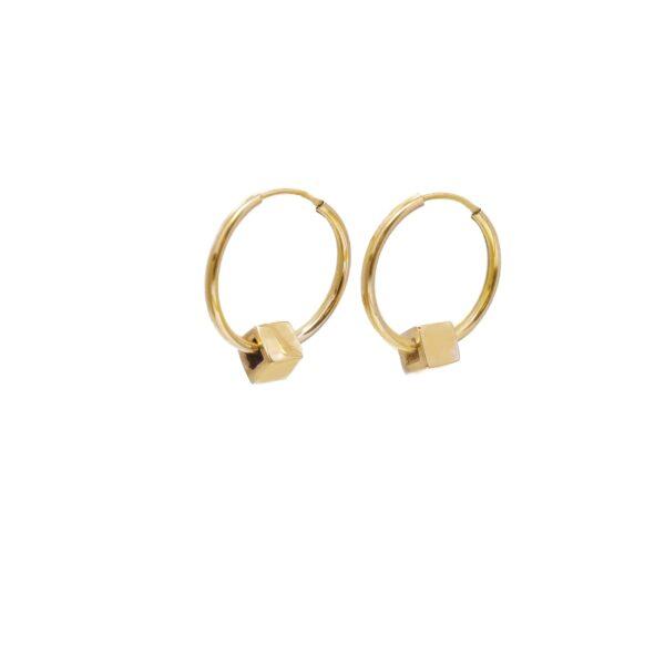 گوشواره طلا مکعب حلقهای