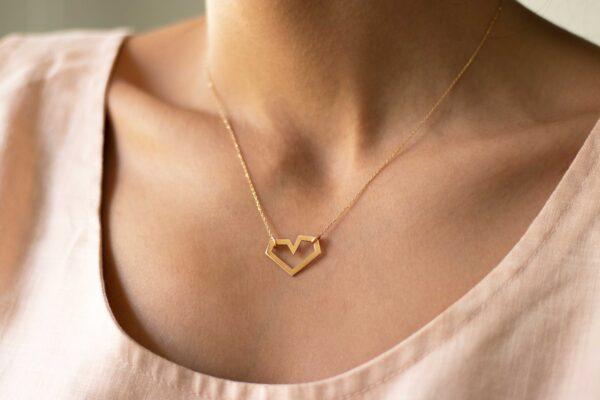 گردنبند طلا قلب نامنظم