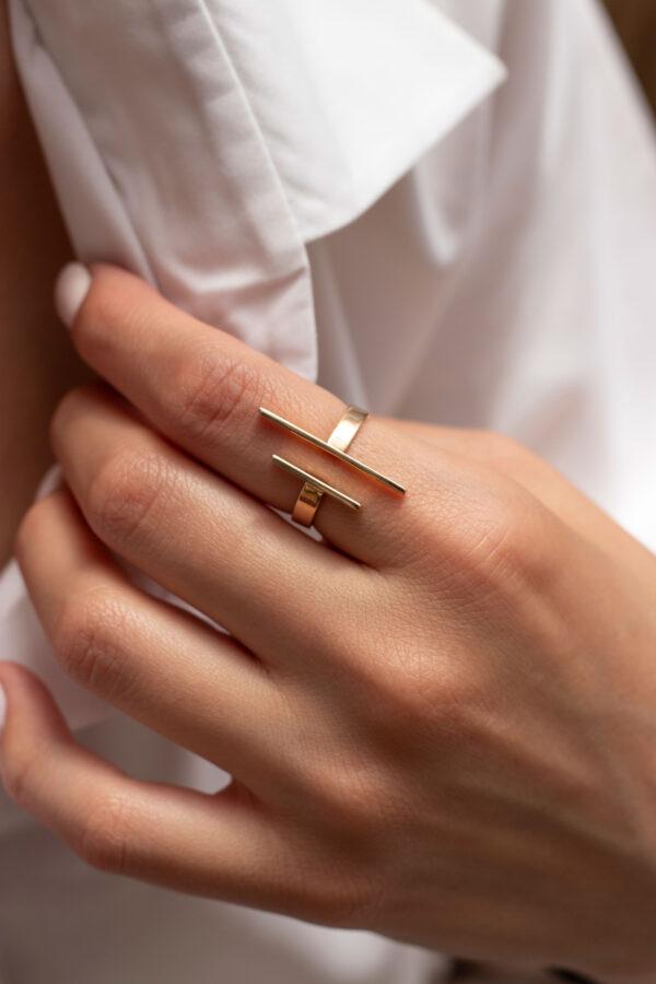 انگشتر طلا دوخط موازی