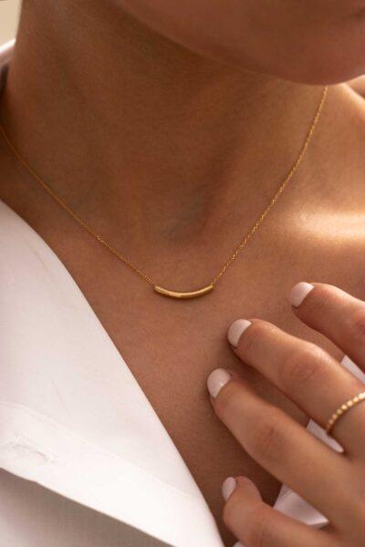 گردنبند طلا هلال مفتول کوچک